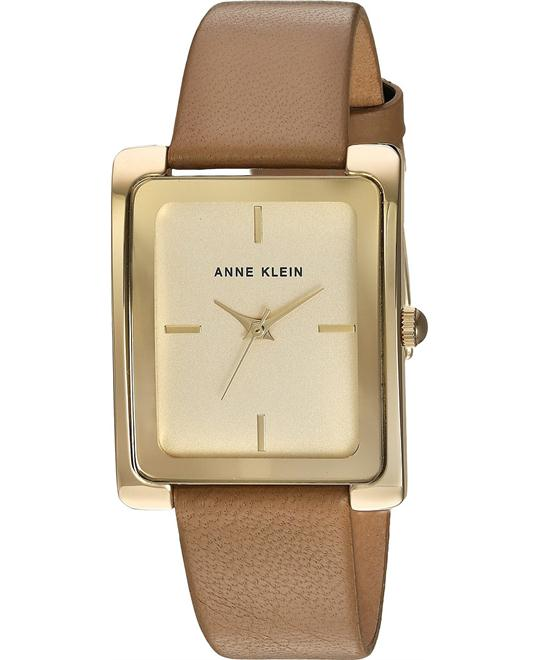 Anne Klein Gold-Tone and Dark Tan Leather Strap Watch 28X35MM