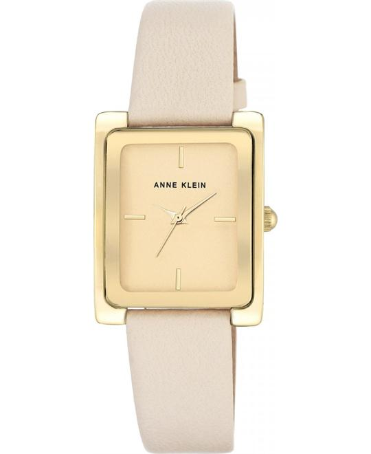 Anne Klein Gold-Tone and Ivory Leather Strap Watch 28X35MM