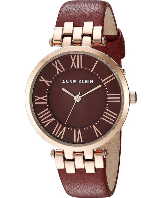 Anne Klein Quartz Metal and Leather Dress Watch 34mm
