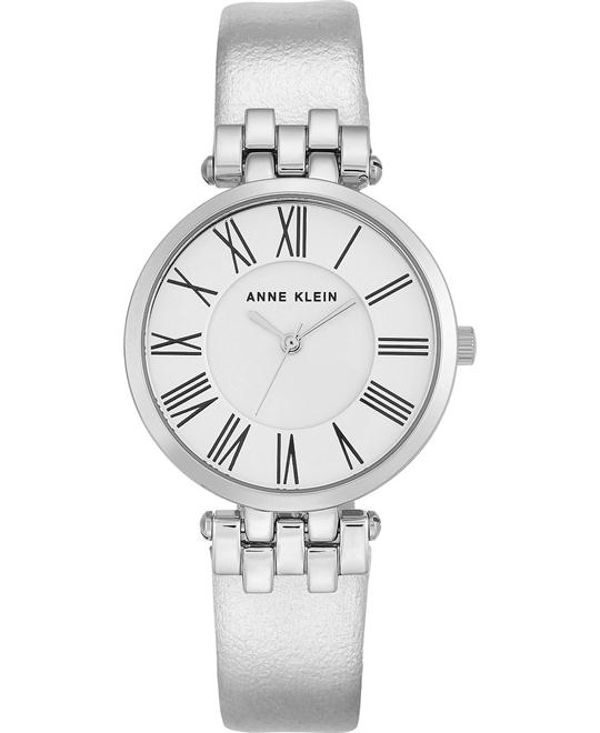 ANNE KLEIN Silver Dial Silver Leather Ladies Watch 34mm