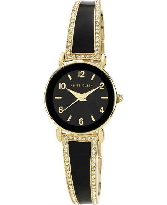 Anne Klein Watch, Women's Black Enamel and Gold-Tone 24mm