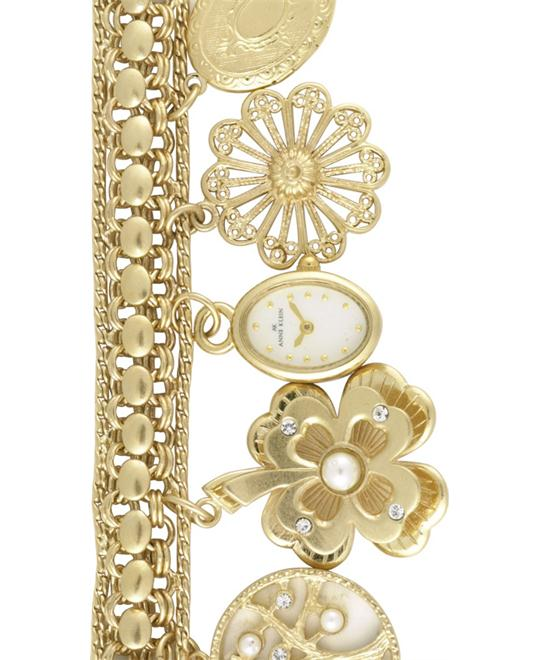 Anne Klein Watch, Women's Gold-Tone Charm Bracelet
