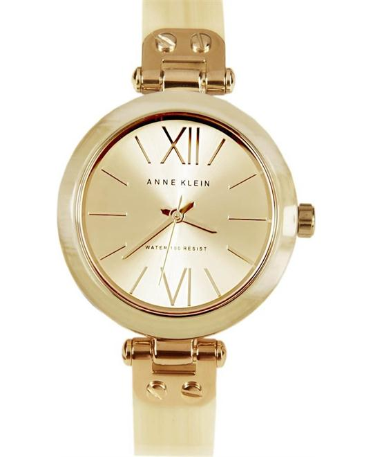 Anne Klein Horn Plastic Bangle Bracelet Watch 34mm