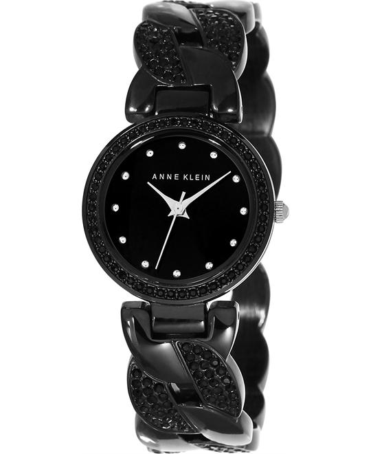 Anne Klein Women's Black Crystal Black-Tone Link Watch 26mm