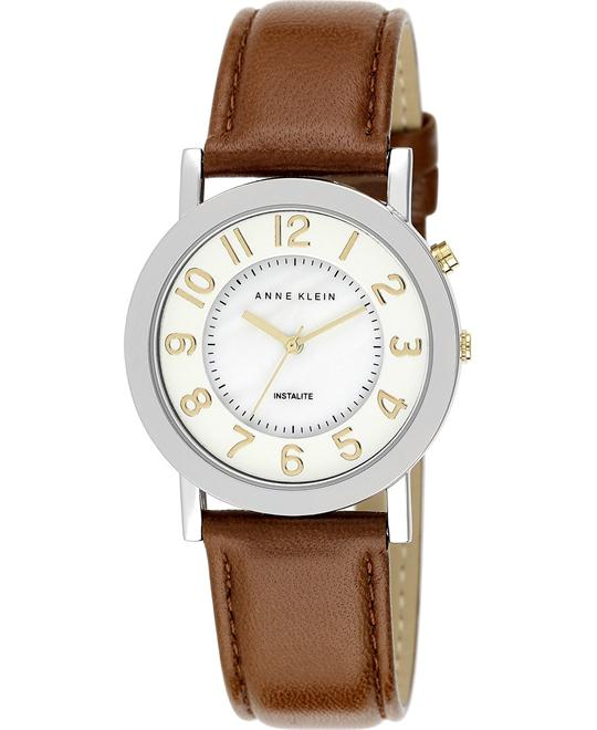 Anne Klein Women's Brown Leather Strap Watch 34mm