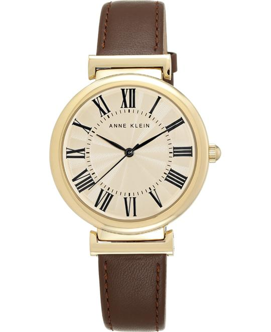 Anne Klein Women's Dark Brown Leather Watch 38mm