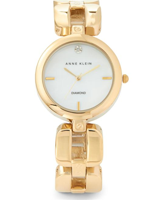 Anne Klein Women's Diamond Dial Gold-Tone Watch, 34mm