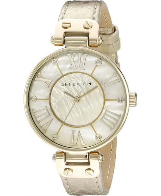 Anne Klein Women's Gold Leather Watch 34mm