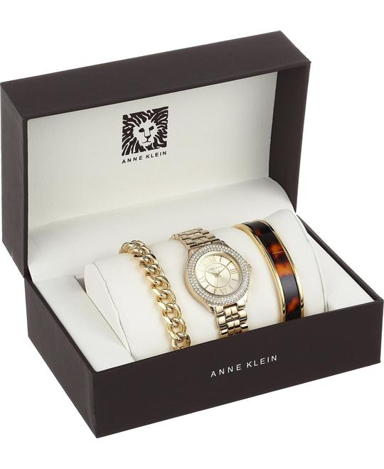 Anne Klein Women's Gold-Tone Bracelet Watch Set 32mm