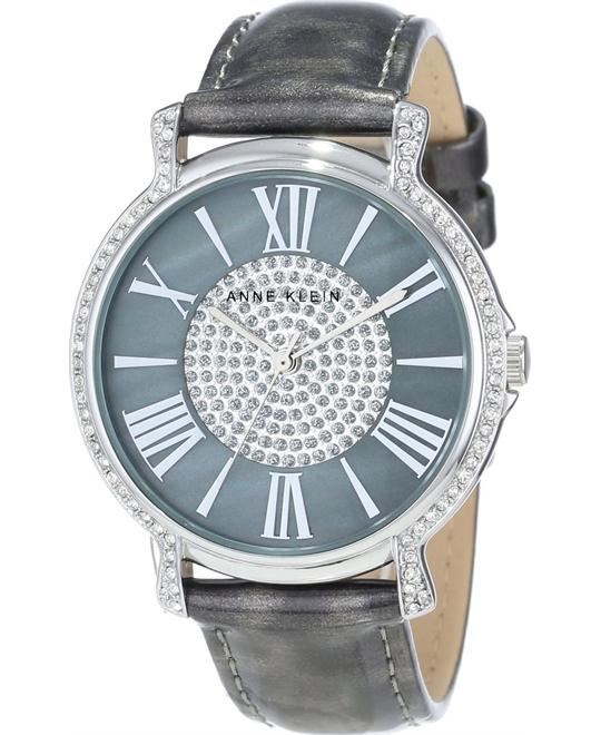 Anne Klein Women's Grey Strap Silver-Tone Watch 38mm