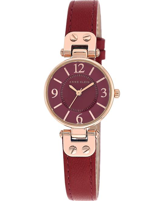 Anne Klein Women's Red Leather Strap Watch 26mm