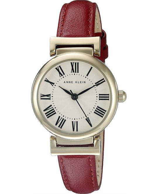 Anne Klein Women's Red Leather Strap Watch 28mm