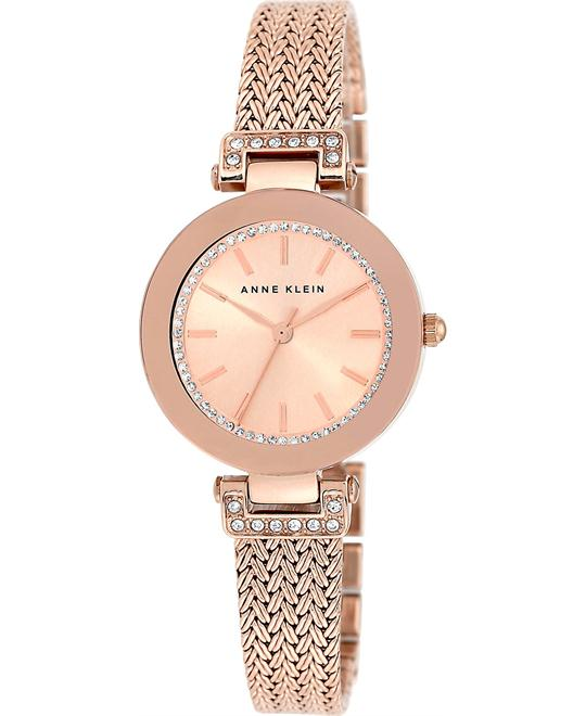 Anne Klein Women's Rose Gold-Tone Mesh Watch 30mm