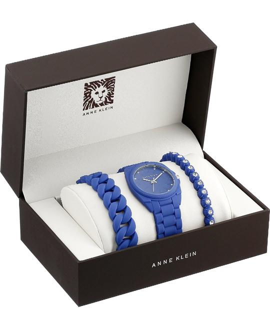 Anne Klein Women's Swarovski Cobalt Watch Set 36mm