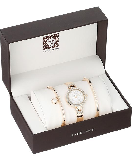 Anne Klein Women's  Swarovski Gold-Tone  Watch Set 30mm