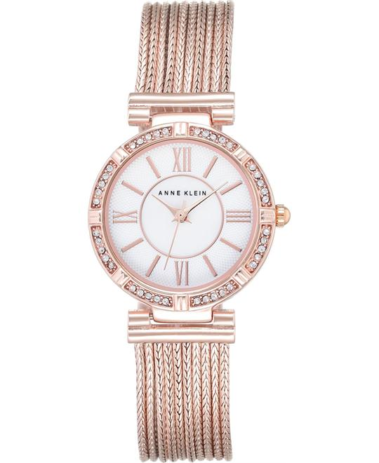 Anne Klein Women's Swarovski Rose Gold Chain Watch 28mm