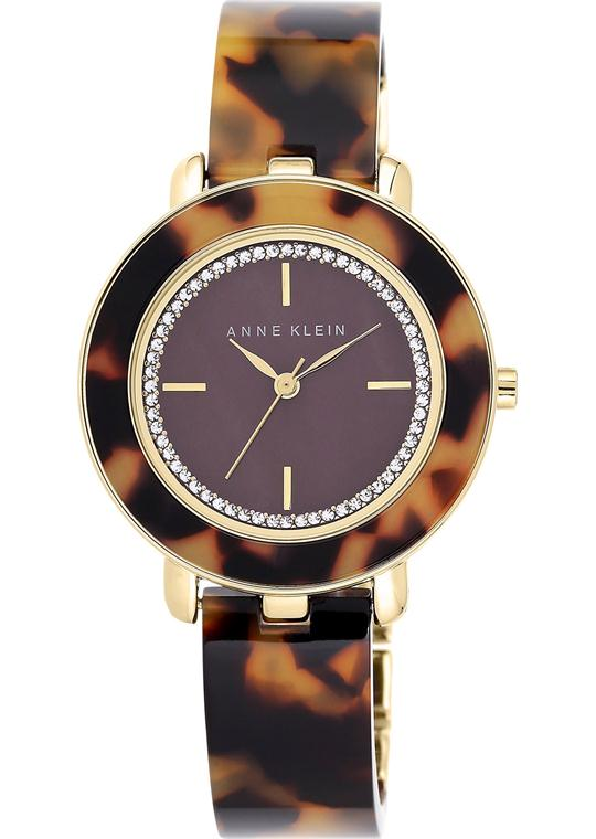 Anne Klein Women's Tortoise Plastic Watch 34mm