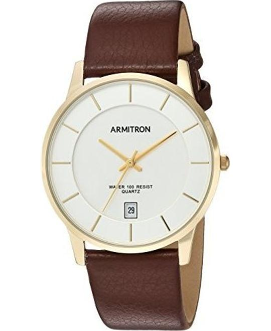 Armitron Men's Quartz Metal and Leather Dress Watch 38.5mm