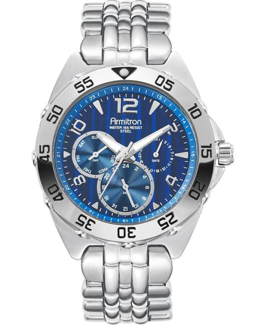 Armitron Men's Silver- Blue Watch, 41.6mm