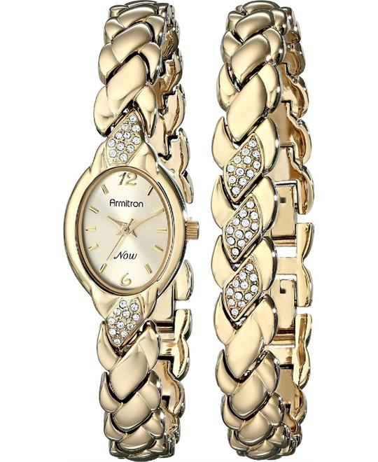 Armitron Women's Swarovski Crystal Watch Set 20mm