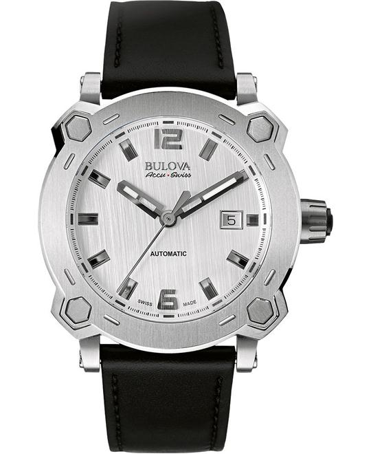 Bulova Accu Swiss Mens Silver Black Leather Strap 42,5mm