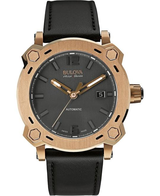 Bulova Accu Swiss Mens Stainless steel Black Leather 42,5mm