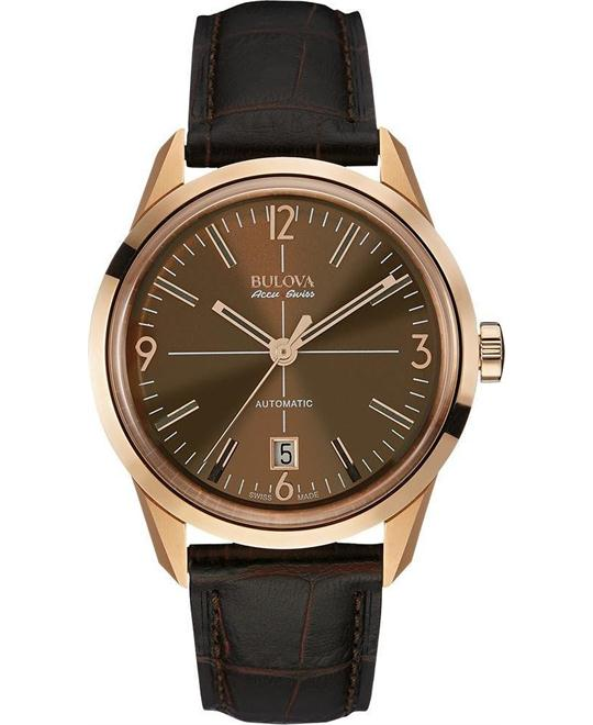 Bulova AccuSwiss Men's Automatic sapphire Leather 40mm