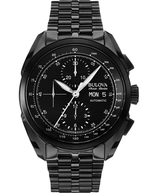 Bulova AccuSwiss Black Stainless Steel Men's Watch 43mm