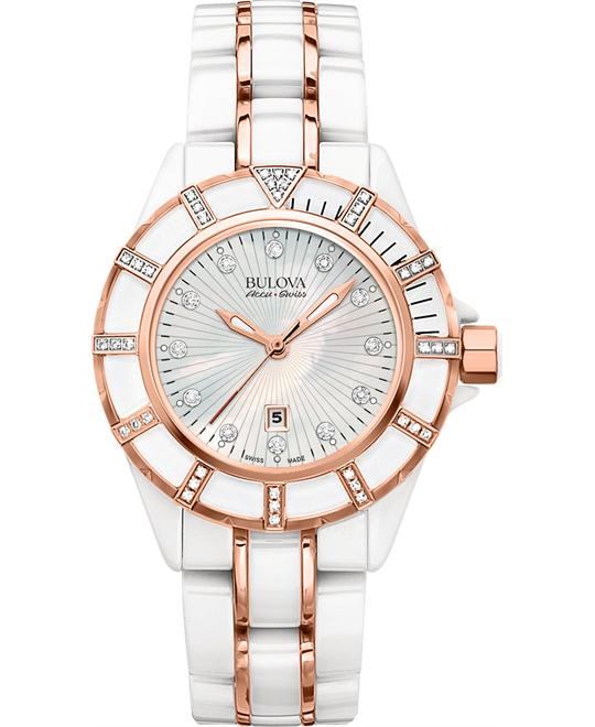 Bulova AccuSwiss Women's Diamond Gold Ceramic 36mm