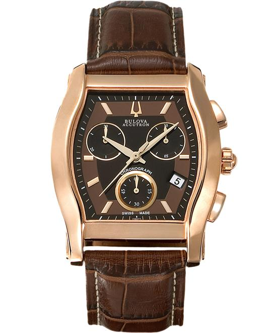 Bulova Accutron Men Rose-Gold  Sapphire Leather 37mm