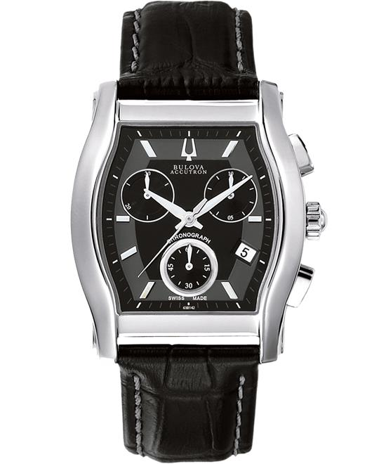 Bulova Accutron Men Stainless steel Leather 37x45mm