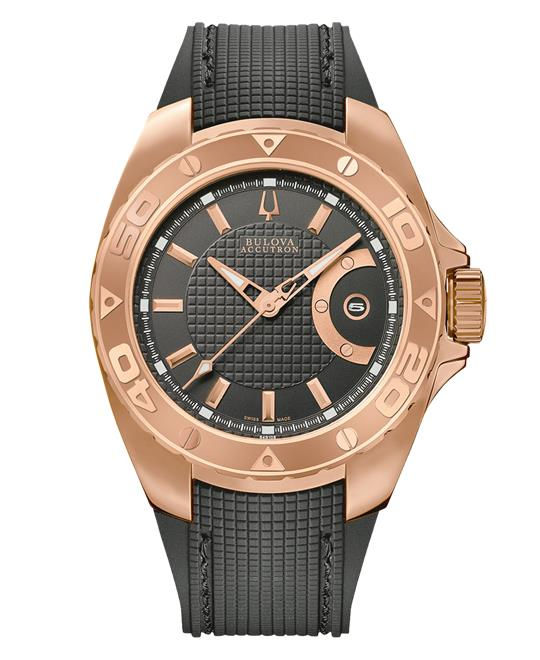 Bulova Accutron Mens Dial Gold Steel Rubber 42mm