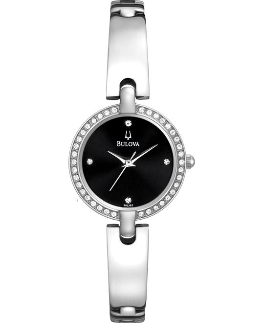 BULOVA Black Dial Stainless Steel Ladies Watch 28mm