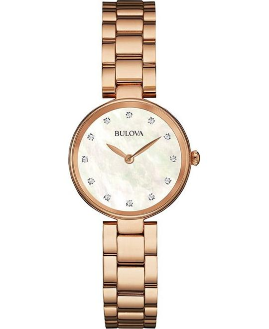 Bulova Corporation Rose Gold Womens Watch 27mm