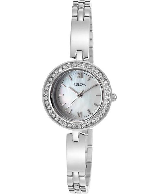 BULOVA Crystal Mother of Pearl Dial Ladies Watch 26mm