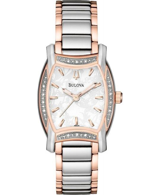 Bulova Diamond Case White Women's Watch 26mm