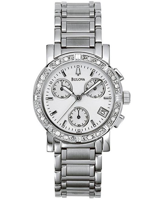 BULOVA Diamond Chronograph Ladies Watch 33mm