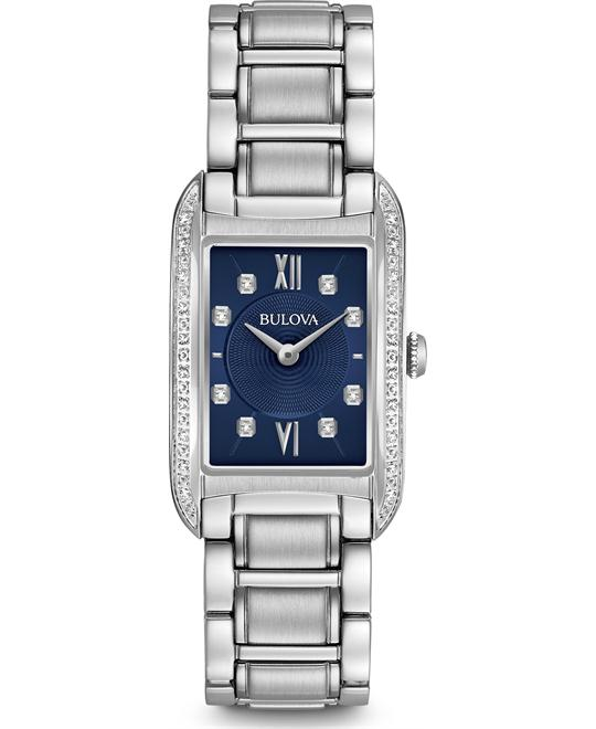 Bulova Diamond Lady's Blue Quartz Watch 22x34.5mm