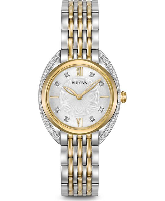 Bulova Diamond Lady's Silver Tone Watch 30mm