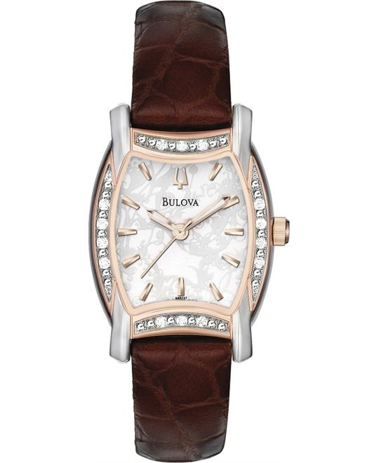 BULOVA Diamond Rose Gold-tone Ladies Watch 26 mm x 36 mm