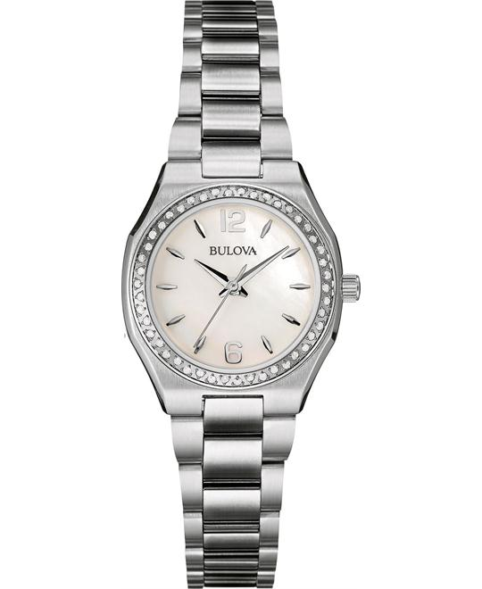 BULOVA Diamonds Mother of Pearl Ladies Watch 26mm
