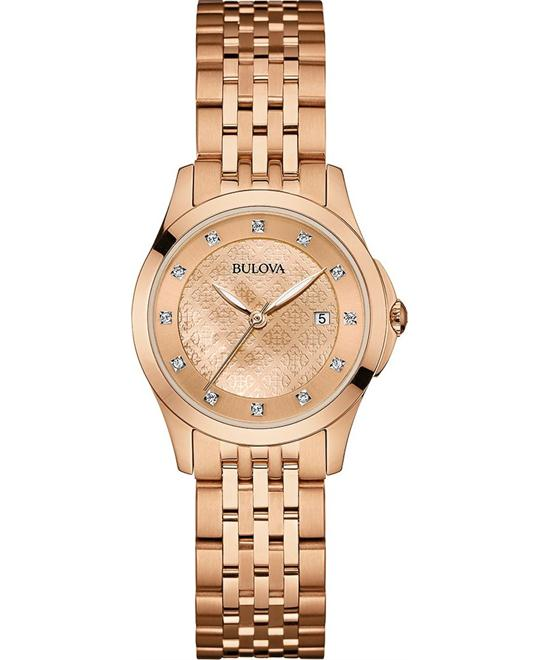 Bulova Diamonds Rose Gold Womens Watch 27mm