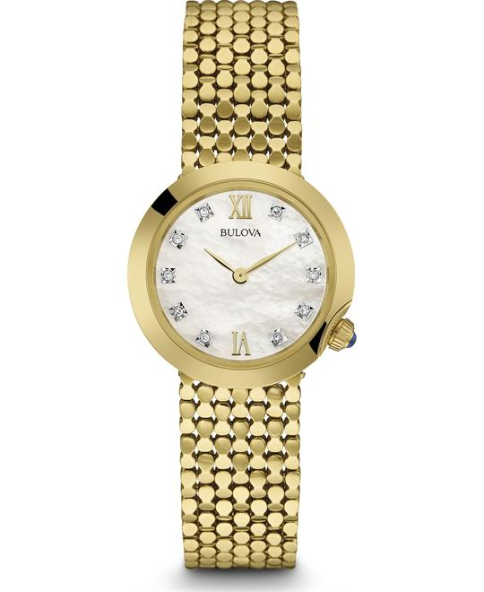 Bulova Diamonds Womens Gold-tone Mesh Watch 28mm