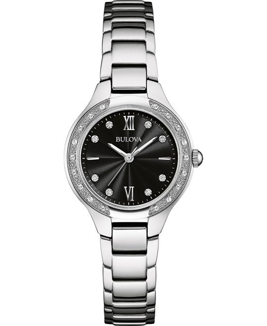 Bulova  Ladies' Diamond Band Black Dial Watch 28mm
