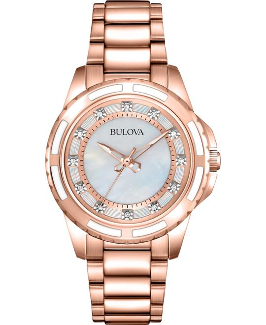 Bulova Lizard Diamond Rose Gold Watch 32mm