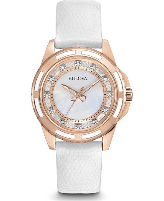 đồng hồ Bulova Lizard Diamond Women's White Watch 32mm