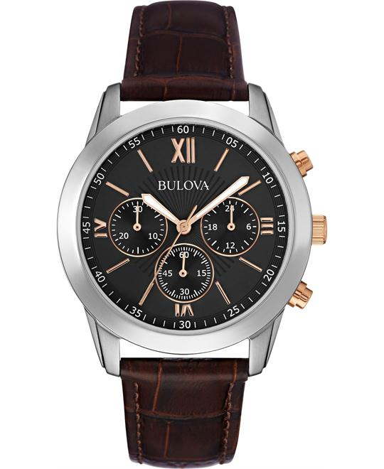 Bulova Men's Chronograph Brown Leather Watch 40mm