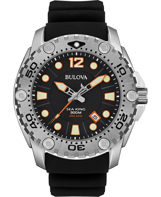 Bulova Men's UHF Sea King Black Rubber Strap Watch 49mm