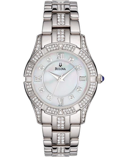 Bulova  Mother-of-Pearl Swarovski Crystal Women's Watch 30mm