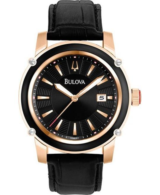 BULOVA Rose Gold-tone Black Leather Men's Watch 43mm